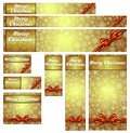Snowflakes christmas gold web banners nine snowflake with copy space Stock Images