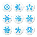 Snowflakes christmas icons set winter round labels isolated on white Stock Photography
