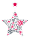 Snowflakes christmas star a made up of different isolated on white background useful also as greeting card eps file available Royalty Free Stock Images