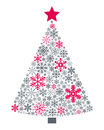 Snowflakes christmas tree a made up of different isolated on white background useful also as greeting card eps file available Royalty Free Stock Photo