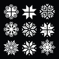 Snowflakes, Christmas  white icons set on black Royalty Free Stock Photo