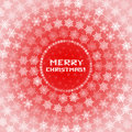 Snowflakes circles christmas card white on red background Royalty Free Stock Photos