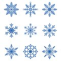 Snowflakes collection. Set of snow icons. Winter decoration elements for Christmas banner, New Year cards. Vector.