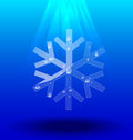 Snowflakes crystal on blue background Royalty Free Stock Photography