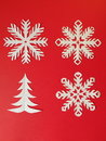 Snowflakes and fire tree Royalty Free Stock Photography