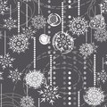 Snowflakes on gray holiday seamless pattern Stock Images