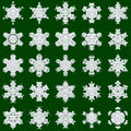 Snowflakes on green background white different good image for a christmas new year and winter themes Stock Images
