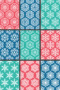 Snowflakes patterns set of seamless Stock Photo