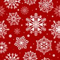Snowflakes seamless pattern. Abstract christmas snow wallpaper, xmas decorative frost design. Red and white winter