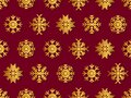 Snowflakes seamless pattern, gold and red color. Merry Christmas and Happy New Year background with falling snow. Flat style. Royalty Free Stock Photo