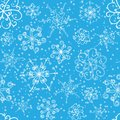 Snowflakes seamless pattern with hand drawn and snow Royalty Free Stock Photos