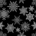 Snowflakes seamless pattern. Holiday white and blue background. Christmas vector illustration. Royalty Free Stock Photo