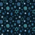 Snowflakes seamless pattern. Watercolor hand painted falling snow on dark blue background. Festive winter backdrop Royalty Free Stock Photo