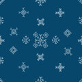 Snowflakes seamless vector pattern.Blue snow christmas background illustration Royalty Free Stock Photo