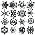 Snowflakes set a of abstract and stars black and white graphics for use as a decoration and brushes Stock Image