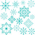 Snowflakes set big nice unique over white Stock Photos