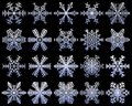 Snowflakes set of unusual icons. White snow flakes on a dark blue frosty background. Frozen ice crystal collection. Vector illustr Royalty Free Stock Photo