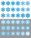 Snowflakes set various silhouttes and two color version Royalty Free Stock Photo