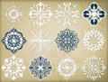 Snowflakes set a of vector design elements Stock Photo