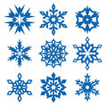 Snowflakes set of winter icons isolated on white Royalty Free Stock Photography