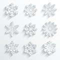 Snowflakes shape vector icon set creative snow design Stock Photo