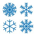 Snowflakes signs set. Blue Snowflake icons isolated on white background. Snow flake silhouettes. Symbol of snow, holiday Royalty Free Stock Photo