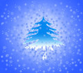 Snowflakes and spruce on blue white color Stock Photo