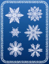 Snowflakes white vector on blue background Stock Image