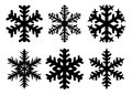 Snowflakes winter silhouette, icon set. Vector collection of snowflake icons, isolated on white background. Royalty Free Stock Photo