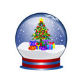 Snowglobe with christmas tree and presents Stock Image