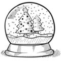 Snowglobe drawing Royalty Free Stock Photo