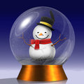 Snowglobe of a happy snowman Stock Photos