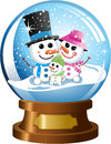 Snowglobe with happy snowman family under snowfall illustration featuring inside a wearing scarf top hat and woolen cap isolated Stock Photography
