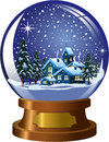 Snowglobe with winter christmas landscape illustration featuring inside nighttime under snowfall and copy space isolated on white Stock Photography