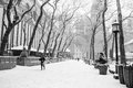 Snowing bryant park in black and white during a recent snow storm Stock Photography
