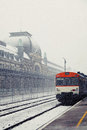 Snowing in Canfranc Railway Station Stock Photo