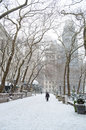 Snowing in the park bryant manhattan during a heavy snowfall Stock Photography