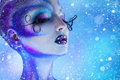 Snowing photo of beauty woman with closed eyes and creative body Royalty Free Stock Photo