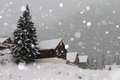 Snowing in winter the village Royalty Free Stock Photography