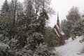 Snowing in winter the village Royalty Free Stock Images