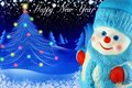 Snowman on the background of christmas tree and greetings in the starry sky Stock Images