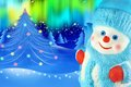 Snowman on the background of christmas trees and northern lights Royalty Free Stock Photos
