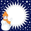 Snowman background congratulatory christmas with cartoon Stock Images