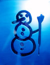 Snowman on the bathroom mirro. Drawing on Mirror. Royalty Free Stock Photo