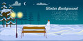 Snowman and Bench on Winter Background. Dark Night Royalty Free Stock Photo