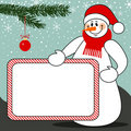 Snowman with billboard christmas vector background Royalty Free Stock Photos