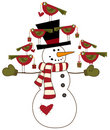Snowman with birds Royalty Free Stock Image