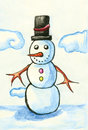 Snowman with black hat acrylic illustration of Royalty Free Stock Photo