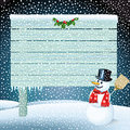 Snowman and blank wooden sign illustration of stood by with sprig of holly christmas scene Stock Image