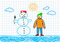 Snowman with boy Royalty Free Stock Photo